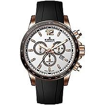 Edox Men's Chronorally S 44mm Black Rubber Band Steel Case Swiss Quartz Analog Watch 10229 37RCA AIR