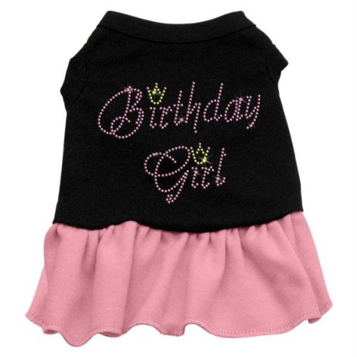 "Mirage Pet Products 57-03 SMBKPK 10"" Birthday Girl Rhinestone Dresses Black with Light Pink, Small from Mirage Pet Products"