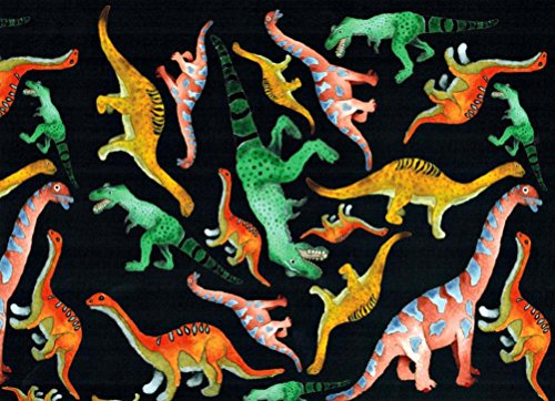 (Colorful Dinosaurs on Black Rolled Gift Wrap Paper 2 Sheets 19.5 in x 27.5 in)