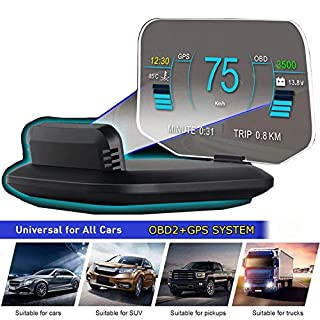 "YUGUANG 6"" HUD Display Car OBD2, Suspended Virtual Display Head Up Display C1 HUD Display 5 Modes OBD+GPS Dual System Speedometer Mileage Diagnostic Tools, Read Data Flow Fault Alarm Fault Clearing"