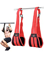 DMoose Fitness Hanging Ab Straps for Abdominal Muscle Building and Core Strength Training, Arm Support for Ab Workouts, Padded Knee Raise Straps Gym Equipment for Men and Women