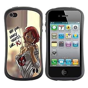 LASTONE PHONE CASE / Suave Silicona Caso Carcasa de Caucho Funda para Apple Iphone 4 / 4S / sexy lingerie chick babe woman honey