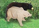 : Puzzled Kids Playschool Preschool Black Bear 3D Natural Wood Play Puzzle