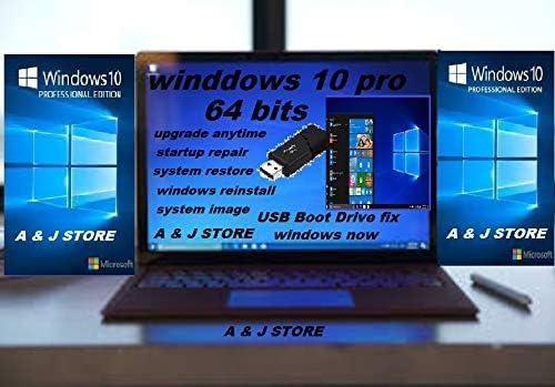 Windows 7,8.1,10 USB Flash Drive 32 /& 64 Bit Fresh Install Full Setup