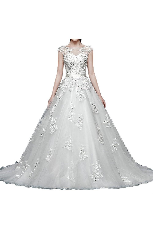 Victory Bridal Herrlich Spitze Damen Brautkleider Lang Applikation Hochzeitskleider Brautmode 2015