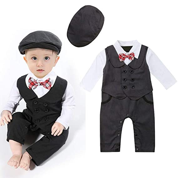 3bfdc83e0 Wide.ling Infant Toddler Baby Tuxedos Clothes Gentleman Romper ...