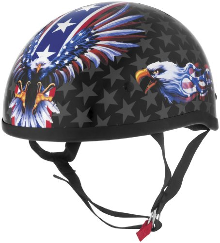 Flames Skid Lid - Skid Lid Helmets Original USA Flame Eagle Helmet , Distinct Name: USA Flame Eagle, Gender: Mens/Unisex, Helmet Category: Street, Helmet Type: Half Helmets, Primary Color: Red, Size: XL 646990