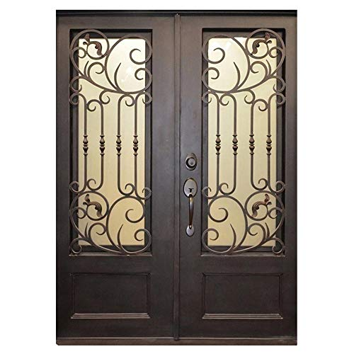 Wrought Iron Glass Doors - Alexia 73.5x81 Flat Top Iron Door, Easy Clean Glass