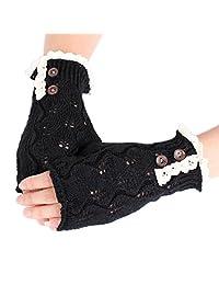 Western Style Christmas Half Finger Gloves Lace Leaves Woolen,Black