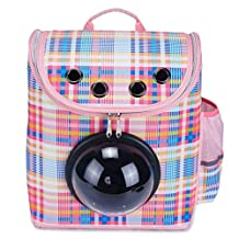 Pettom Pet Carrier Backpack Bag for Small Little Dogs Cats, Portable Breathable Innovative Space Capsule Astronaut Outdoor Travel Bubble Package Box (Pink Lattice)