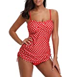 TADAMI Women Floral Tankini Tummy Control Swimwear Tank Top Retro Printed Swimsuit with Boyshorts Two Piece Bathing Suit