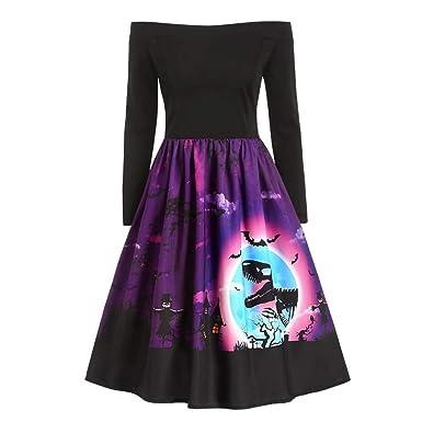 CLOOM Halloween Vestido Mujer Sexy Fuera del Hombro Falda Plisada ...