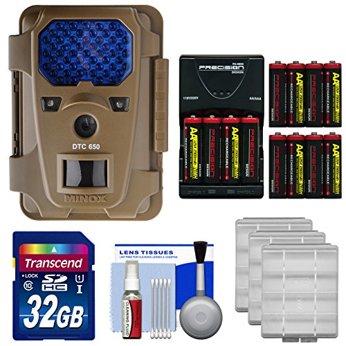 Price comparison product image Minox DTC 650 Trail Surveillance Digital Camera with Black IR-Filter Flash (Brown) with 32GB Card + 12 AA Batteries & Charger + Kit