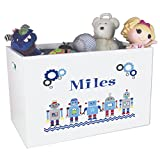 Personalized Robot Childrens Nursery White Open Toy Box