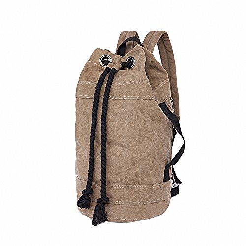 Women's Canvas Travel Bag Student Drawstring Bucket Backpack (Khaki) - 3