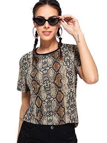 ROMWE Women's Animal Snake Print Graphic Print T-Shirt Round Neck Short Sleeve Crop Tee Top Multicolor_1 M (Animal T-shirt Snake)