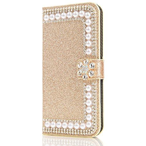 Galaxy S8 Carcasa, Vandot Diamante PU Leather Cuero Cobertura Bookstyle Wallet Cubierta Caja Glitter Bling Diamond Carcasa Con [Flip Case Cover] [Cierre Magnético] [Función de Soporte] [Billetera con  ZPT 34