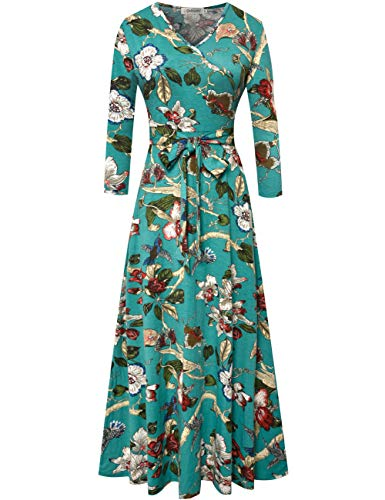 Aphratti Women's 3/4 Sleeve Faux Wrap V Neck Floral Vintage Long Maxi Dress Large Floral-Green