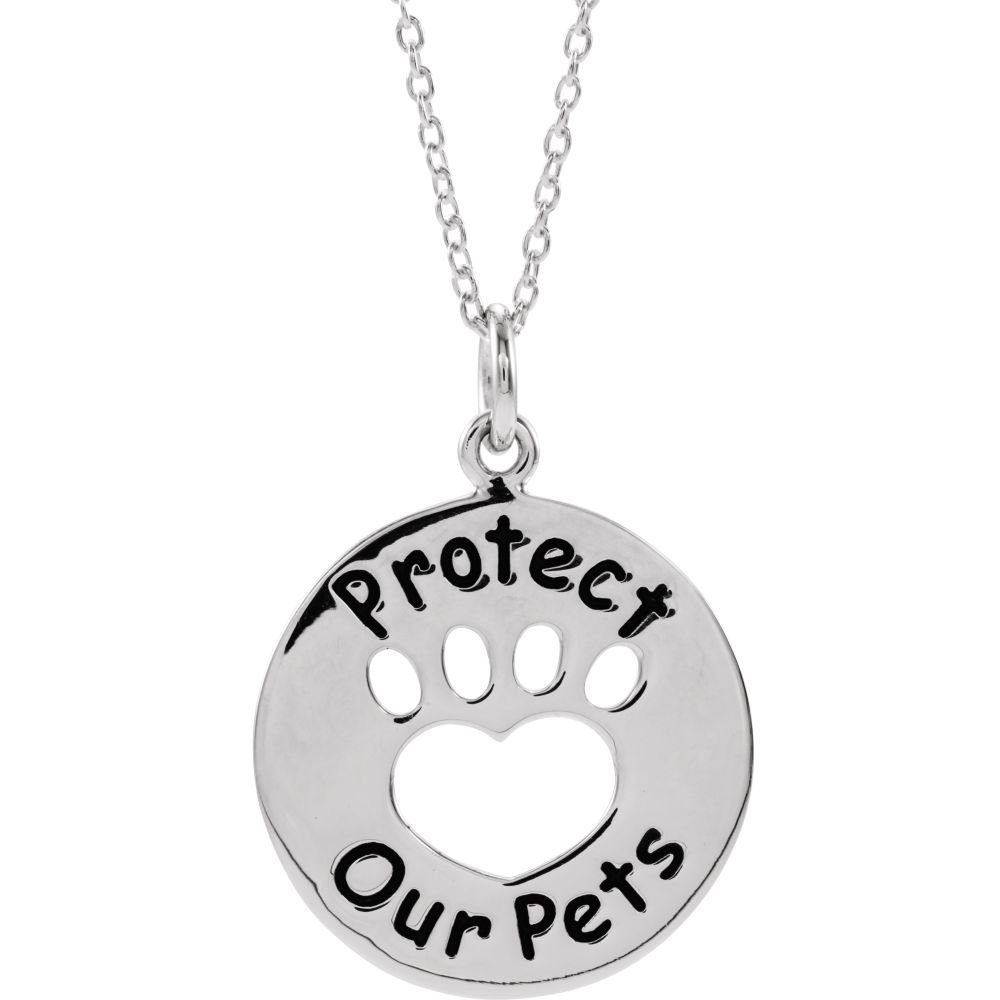 925 Sterling Silver Polished Heart U Back Protect Paw Necklace