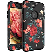 RabeMall Case for iPhone 7 Plus Three Layer Hybrid Shockproof Smooth Beautiful Fashion Color Rose Flowers Case for Girls/Women,Floral Black