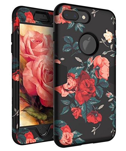 RabeMall Apple iPhone 7 Plus Case Three Layer Hybrid Shockproof Smooth Beautiful Fashion Color Rose Flowers Case for Girls/Women,Floral Black