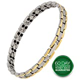 Earth Therapy Two-Tone Titanium Magnetic Therapy Bracelet for Women and Men Arthritis Pain Management