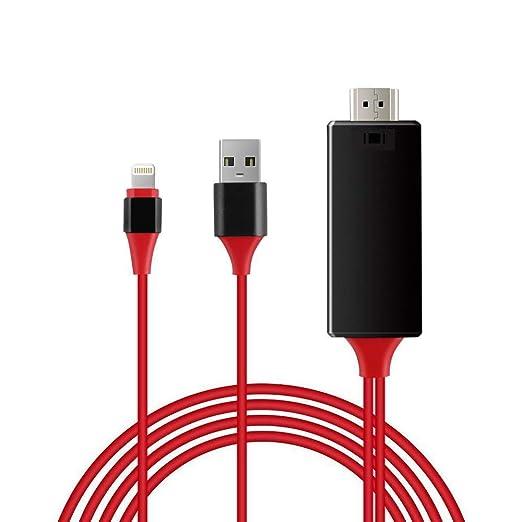 QYLJX iPhone Pantalla a TV Cable HDMI 1080p iOS Adaptador ...
