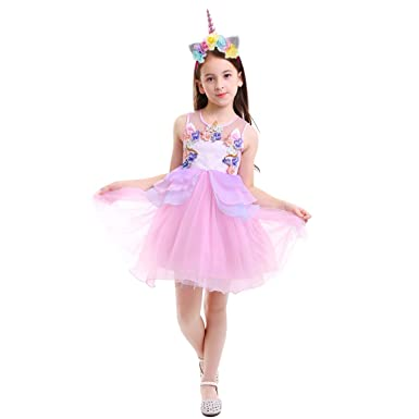 494b63b0a54d9 OBEEII Girls Unicorn Costume Cosplay Dress Party Outfit Fancy Dress  Princess Tutu Skirt for Festival Performance Birthday Pageant Carnival  Halloween ...