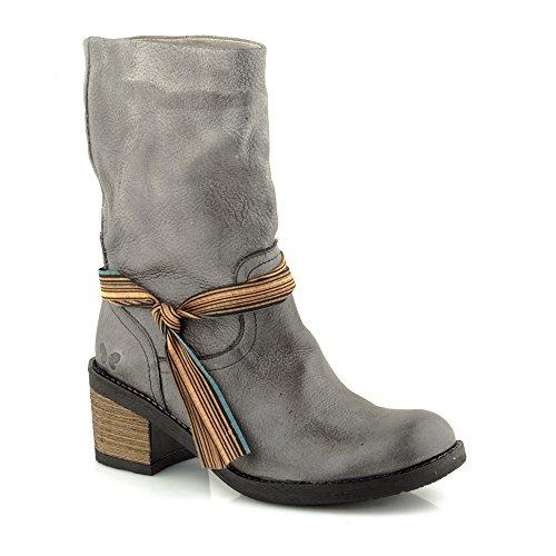 Felmini - Zapatos para Mujer - Enamorarse com Amsterdam 8878 - Botas Altas Cowboy & Biker - Cuero Genuino - Gris Gris