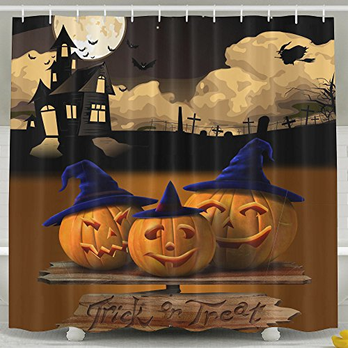 Bridget Bobby Halloween Moon Pumpkin Castle Waterproof Shower Curtain,Bathroom decor 60