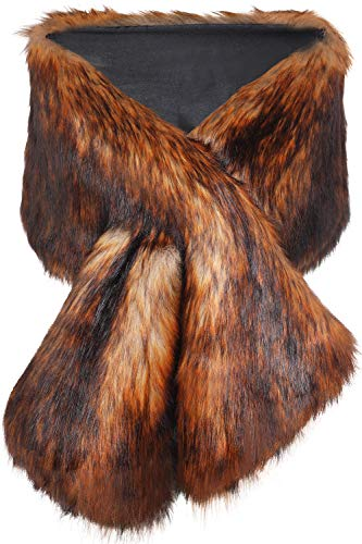 (BABEYOND Womens Faux Fur Collar Shawl Faux Fur Scarf Wrap Evening Cape for Winter Coat (Reddish Brown))