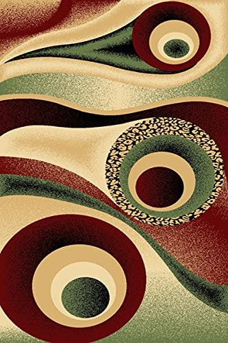 PlanetRugs Inc Premium 3D Effect Hand Carved Modern Abstract 8X10 8X11 Colorful Luxury Rug for Bedroom, Living Room, Dining Room Contemporary 1504 Burgundy