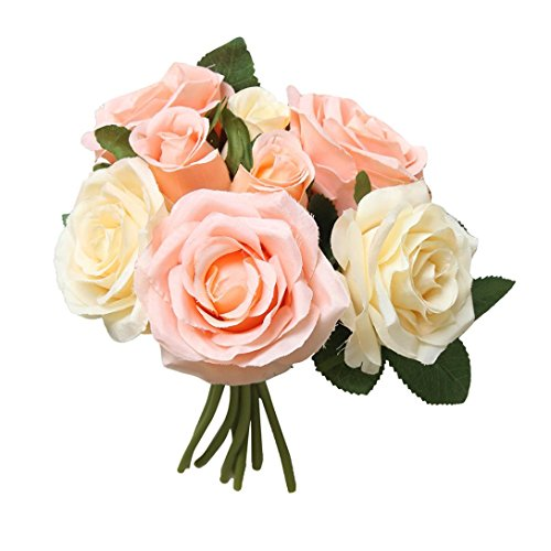 Yeefant 8 Pcs Artificial Fake Roses Flower Bridal Bouquet Wedding Party Home Decor,Total Length 0.89 Ft,Flower Diameter 0.59 Ft,Flower Height 0.16 Ft,Pale Yellow -
