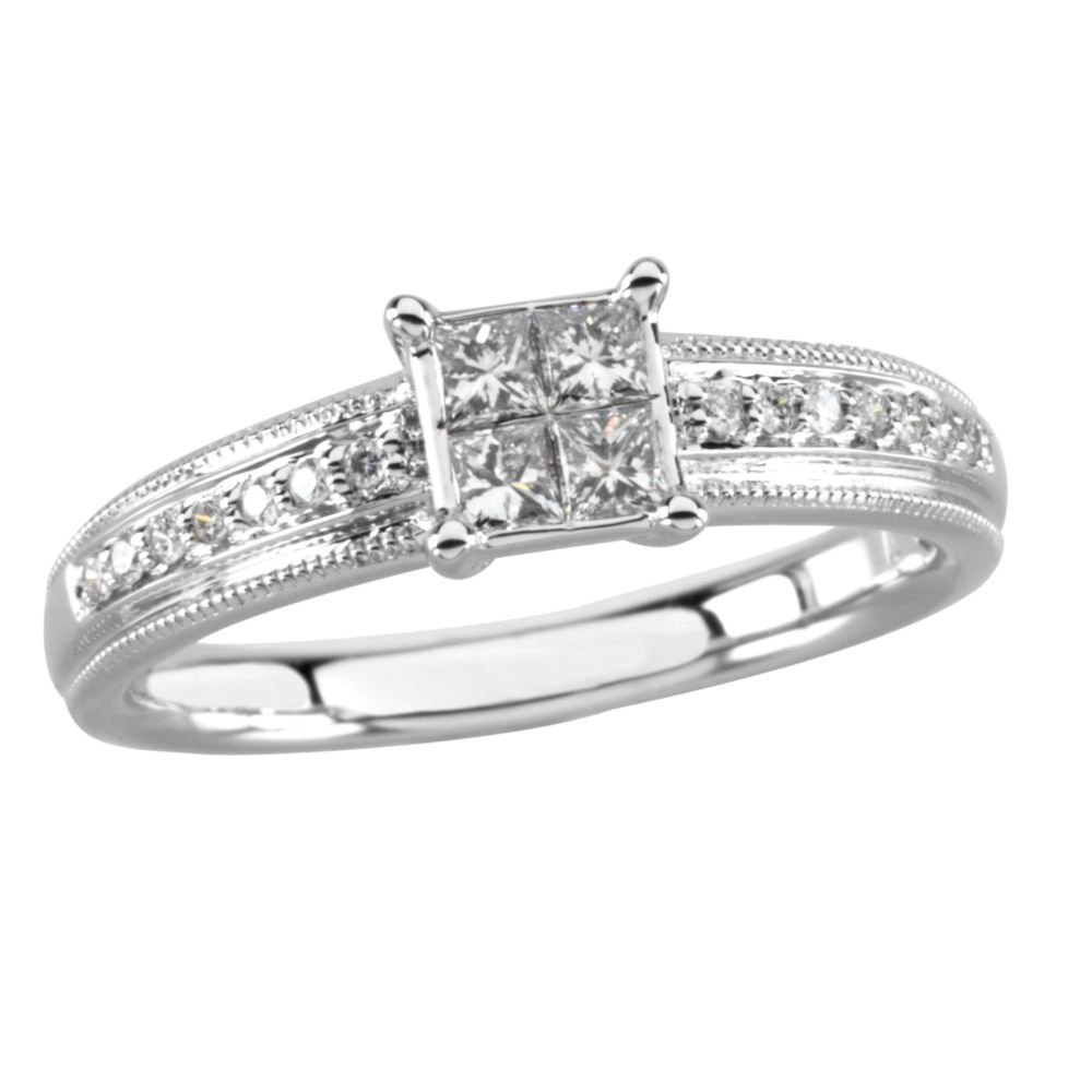 14k White Gold 1/3 Ct Diamond Cluster Top Engagement Ring