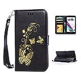 LG G4 Case,Kmety Golden Butterfly Flip Folio PU Leather Kickstand Wallet Purse Case with Wristlet & Credit Card Slots Cash Holder for LG G4