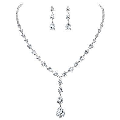 FANZE Women's Prong All Teardrop Cubic Zirconia Gorgeous Wedding Bridal Y-Necklace Dangle Earrings Jewelry Set EQwU3xma