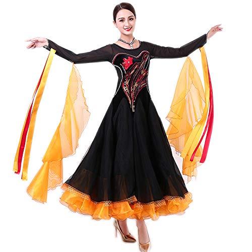 garuda レディース社交ダンス衣装 高級ダンスドレス 発表会競技ワンピース サイズオーダー対応 黒+オレンジ B07P9LZCYV 画面色 Medium