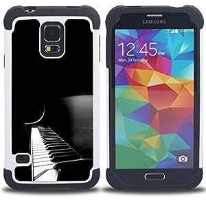 Dragon Case- Dise?¡Ào de doble capa pata de cabra Tuff Impacto Armor h??brido de goma suave de silicona cubierta d FOR Samsung Galaxy S5 I9600 G9009 G9008V- MUSIC INSTRUMENT PIANO WHITE BLACK KEYS