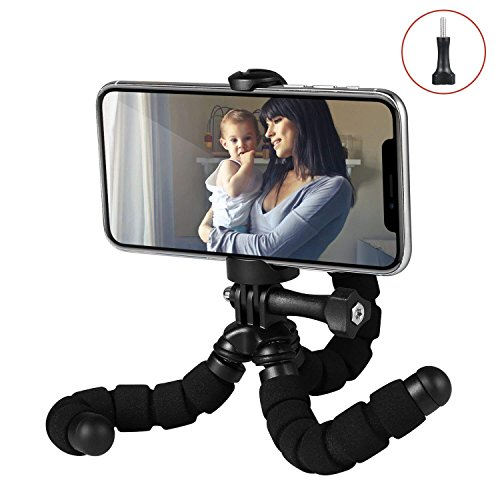 Fotopro Phone Tripod, Flexible Tripod with Universal Clip for iPhone and Android Smartphone, Mini Portable Tripod Stand Holder Compatible with GoPro and Mobile Phone