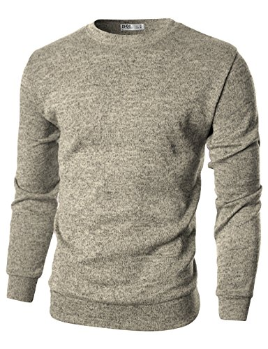 Ohoo+Mens+Slim+Fit+Light+Weight+Crew-Neck+Pullover+Sweater%2FDCP029-BEIGE-L