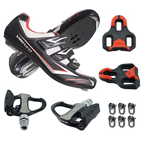 Spd Pedals And Cleats - Venzo Road Bike for Shimano SPD SL Look Cycling Bicycle Shoes with Pedals 47