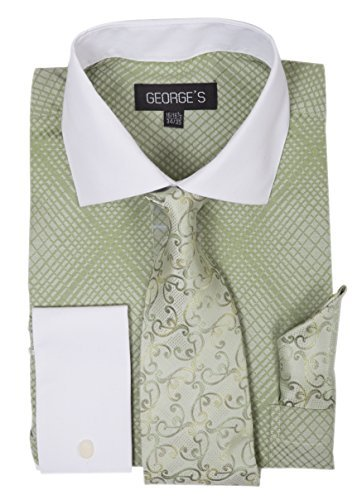 George's Small Check Pattern Fashion Dress Shirt With Woven Tie Set AH624 Apple-18-18 1/2-34-35