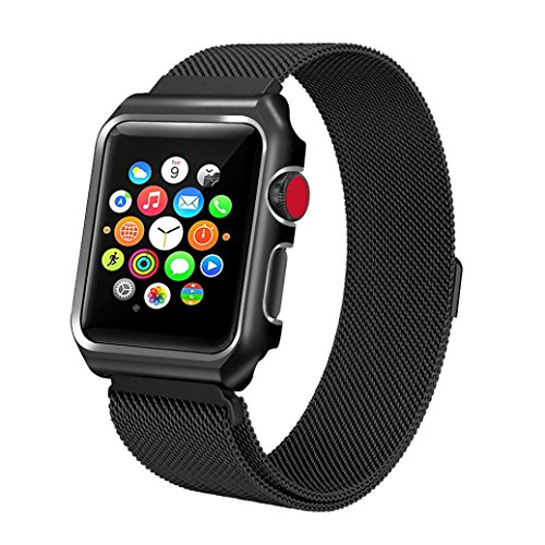 Price comparison product image Apple Watch Band with Case 42mm,  Boofab Stainless Steel Mesh Milanese Loop with Adjustable Magnetic Closure Replacement Wristband iWatch Band for Apple Watch Series 3 / 2 / 1 42mm (black)