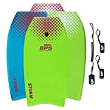 BPS 37' Green w/Purple Dots Bodyboard with Leash and Fin Tethers (2018)