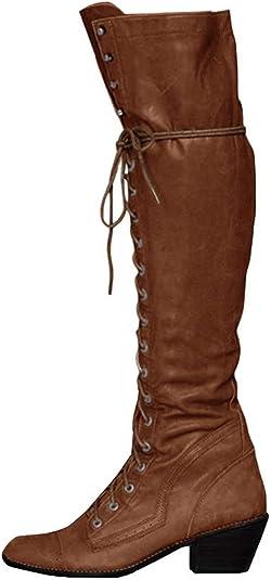 NEU Damen Keilabsatz Overkneestiefel Reißverschluss PU Leder Schuhe