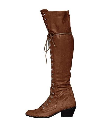 95abe8c6f04a5 Minetom Damen Winterstiefel Overknees Stiefel Blockabsatz Stiefeletten  Langschaft Mode PU Leder Schuhe Retro Niet Seitenreißverschluss Schnüren ...