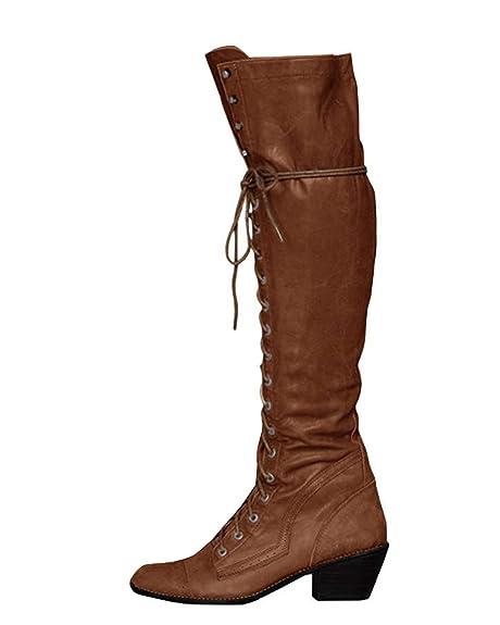 1566f4adc Minetom Botines Mujer Otoño Invierno Planos Largo Botas Moda PU Cuero  Rodilla Alta Tacón Ancho Zapatos Cremallera Encaje hasta Boots  Amazon.es   Zapatos y ...