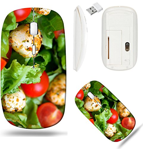Mozzarella Salad - Liili Wireless Mouse White Base Travel 2.4G Wireless Mice with USB Receiver, Click with 1000 DPI for notebook, pc, laptop, computer, mac book Mixed salad with mozzarella and small cherry tom