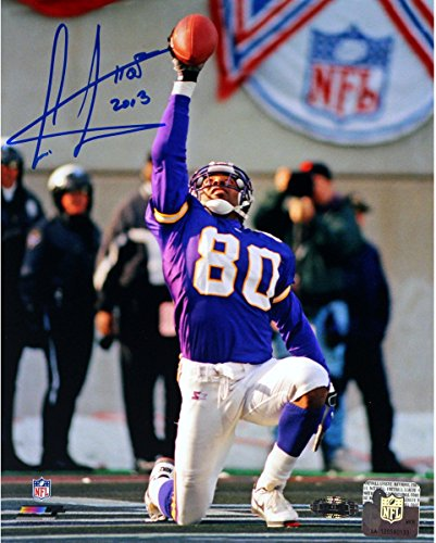 Cris Carter Vikings On Knee with Ball in Air Signed 8x10 photo w/HOF Insc. (Photograph Carter Cris)