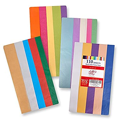 """110 Pack Acid Free Gift Wrap Tissue Paper - 20"""" x 26"""" - Solid, Bright Colored; Bulk; 20 Assorted Colors as Listed in Description!"""